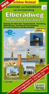 Radwander- und Wanderkarte mit Zick-Zack-Faltung Elberadweg, Magdeburg-Cuxhaven